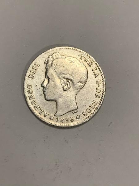 Moneda plata 1 peseta 1896 *96 alfonso xiii