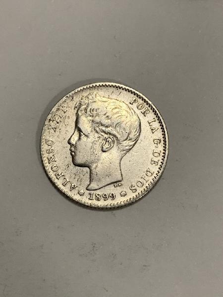 Moneda plata 1 peseta 1899 *99 alfonso xiii