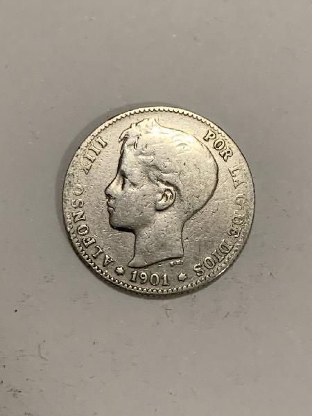 Moneda plata 1 peseta 1901 *01 alfonso xiii