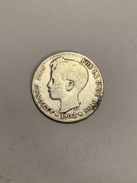 Moneda plata 1 peseta 1902 *02 alfonso xiii