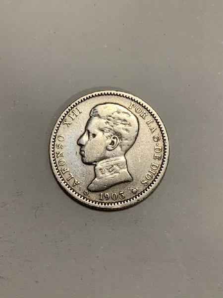 Moneda plata 1 peseta 1903 *03 alfonso xiii