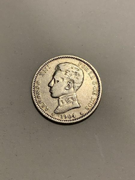 Moneda plata 1 peseta 1904 *04 alfonso xiii