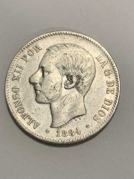 Moneda plata 5 pesetas 1884 *84 alfonso xii