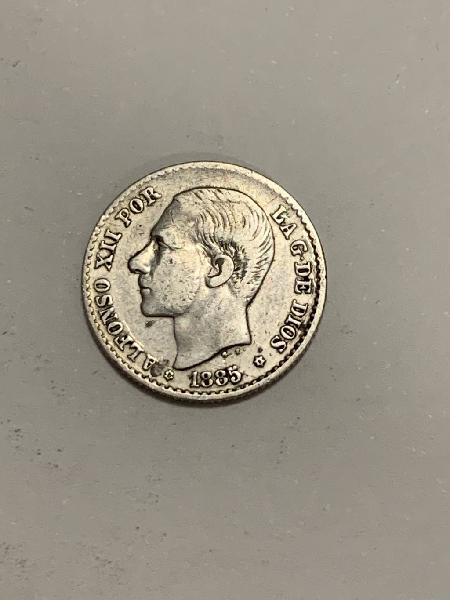 Moneda plata 50 centimos 1885 *86 alfonso xii