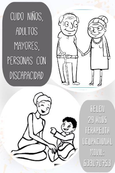 Niñera, cuidado de adultos mayores, discapacitados