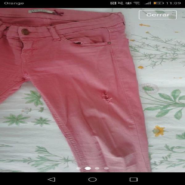 Pantalones pitillos tobilleros color rosa/coral