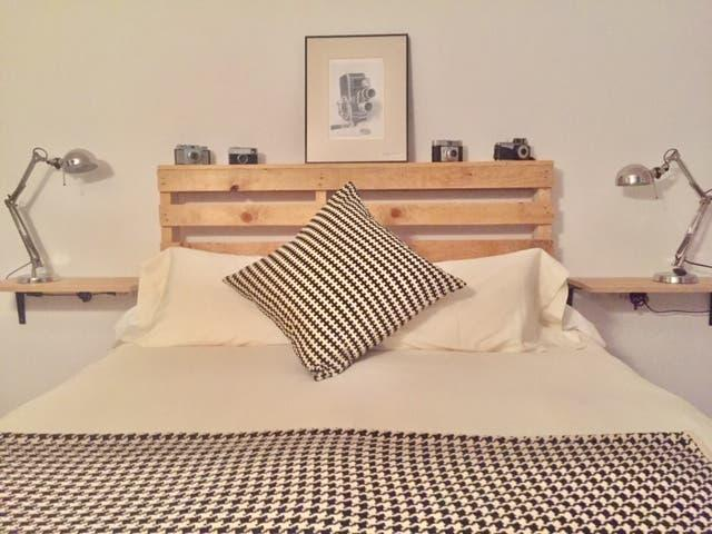 Cabecero cama doble madera palet industrial nordic