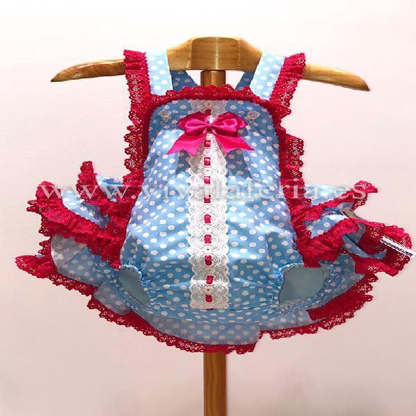 Pelele flamenco para niña color celeste