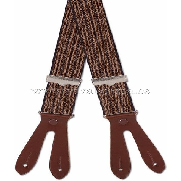 Tirante para cadete elástico a rayas marrón