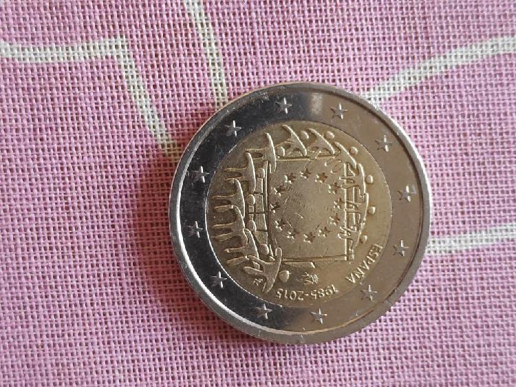 Moneda de 2€ española 30 años bandera europea