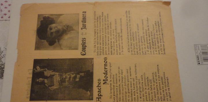 Antigua hoja.letras.couplets de la jardinera.apaches