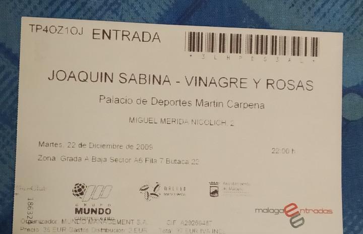 Joaquín sabina. entrada concierto 22 de diciembre de 2009.