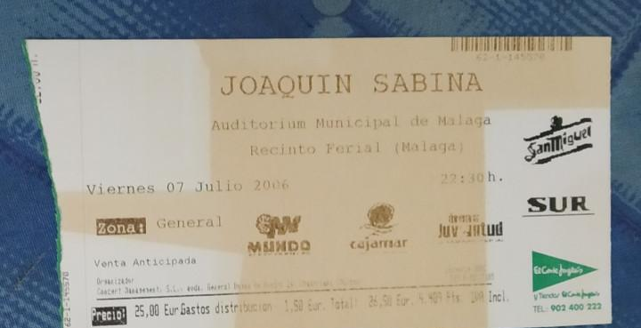 Joaquín sabina. preciosa entrada concierto viernes 7 de