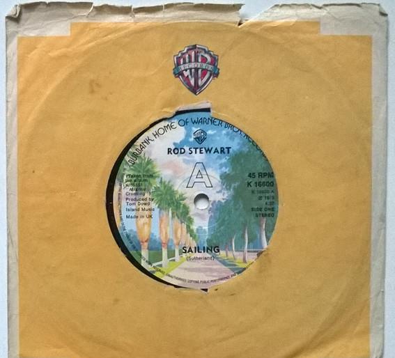 Rod stewart. sailing/ stone cold sober. wb, uk 1975 single.