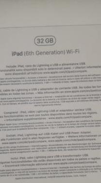Ipad 6 generación wifi 32gb
