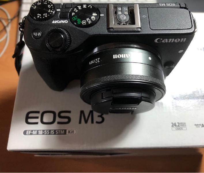 Canon m3, objetivo 22mm y adaptador a ef