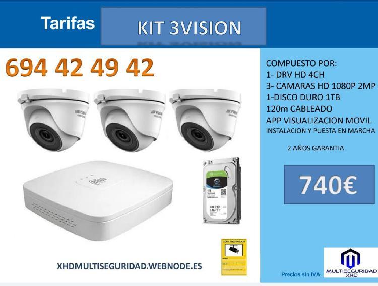 Kit 3 profesional video vigilancia