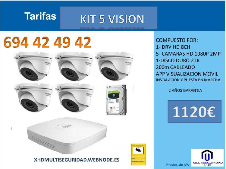 Kit 5 profesional video vigilancia