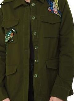 Chaqueta aplicaciones verde militar talla 40