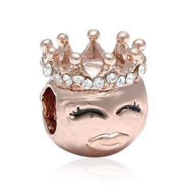 Charm, abalorio princesa -reina rosa gold