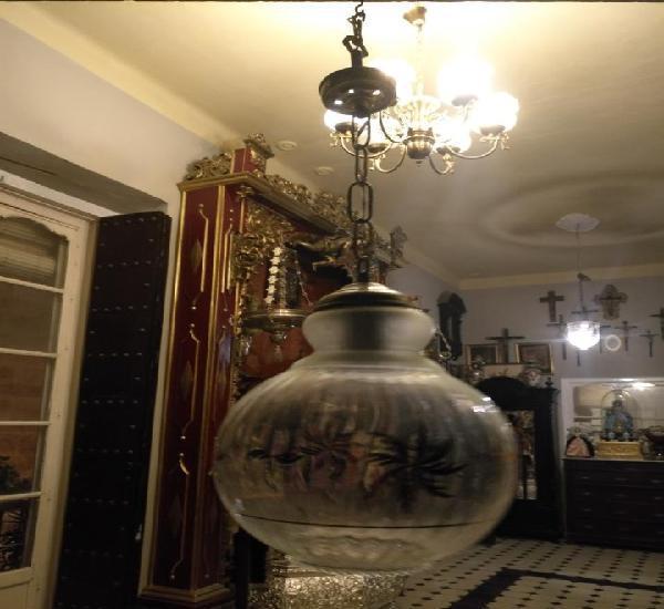 Gran antigua lampara de techo farol de cristal globo tulipa