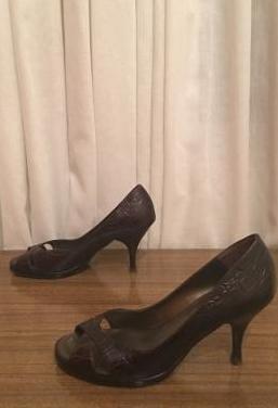 Massimo dutti - zapatos peeptoe tacon mujer