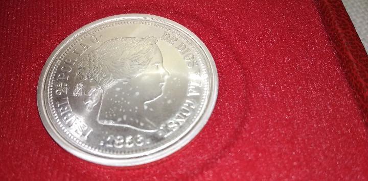 Moneda de 20 reales de la chata isabel ii, plata de ley