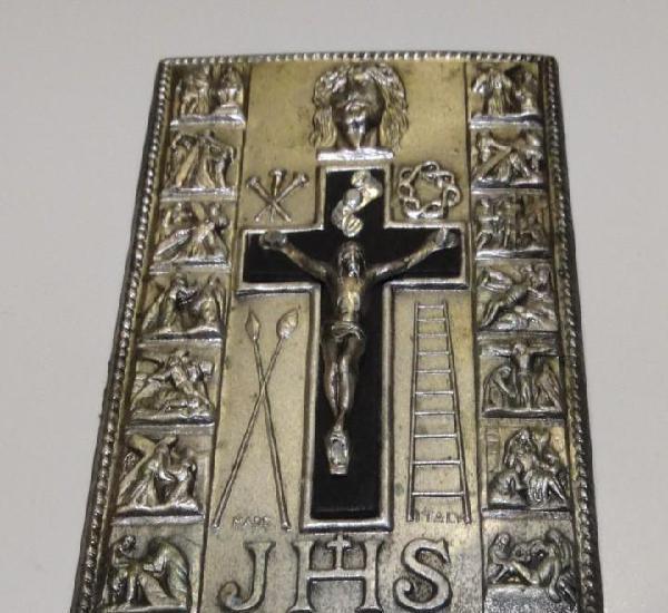 Placa plateada vía crucis.made italy. 14 estaciones de