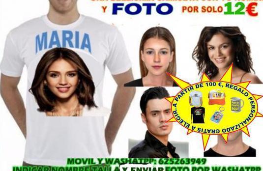 Camiseta blanca personalizada con tu nombre y foto
