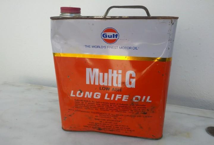 2 antiguas latas garrafas de aceite motor coche gulf motores