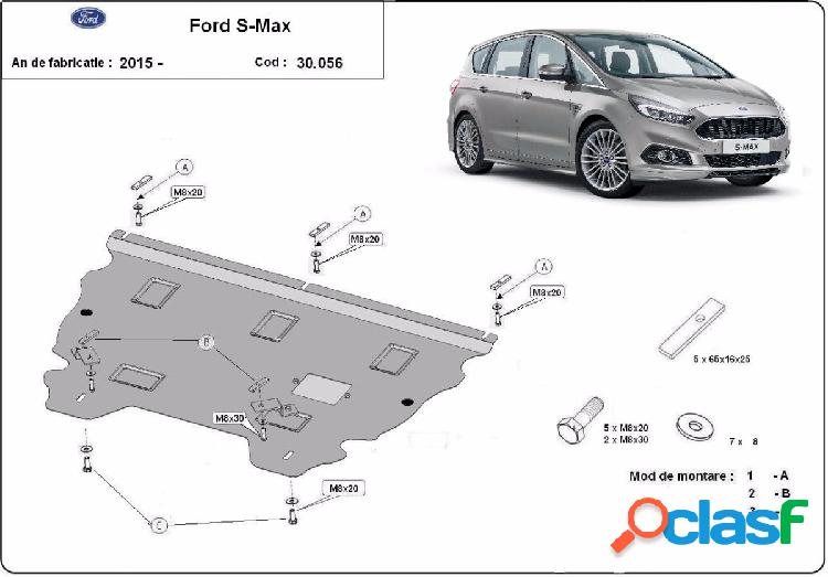 Cubre carter metalico ford s - max 2015-2018 acero 2mm