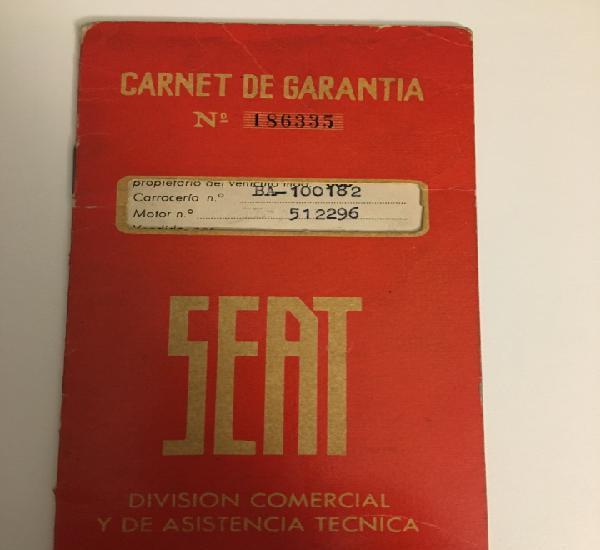 Carnet de garantia seat 1963