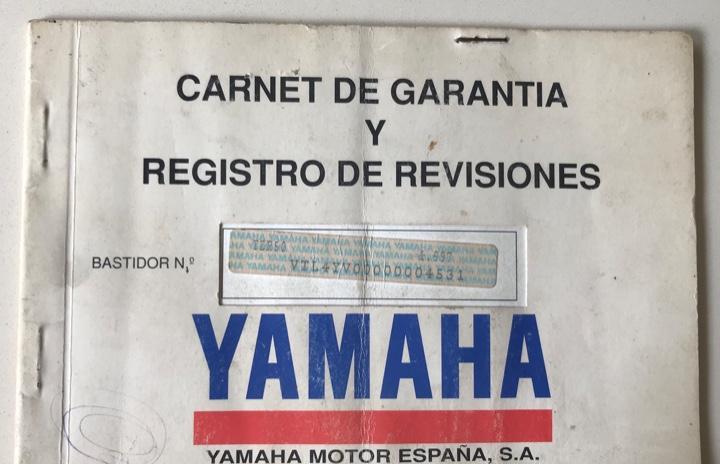 Carnet de garantía y registro de revisiones de yamaha motor