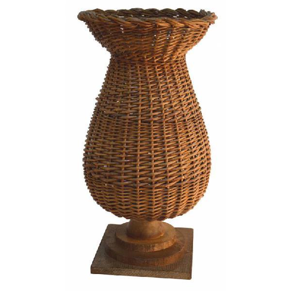 Florero mimbre rústico y madera r4730