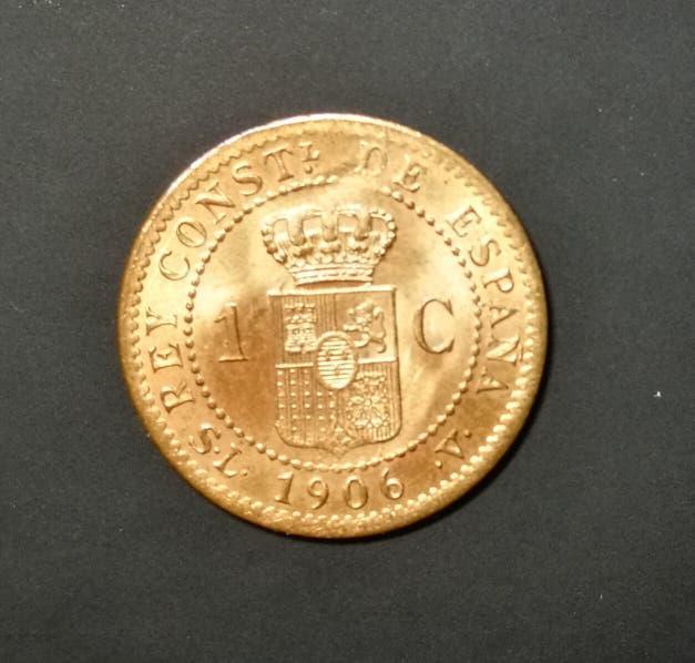 Moneda de 1 centimo de bronce de alfonso xiii