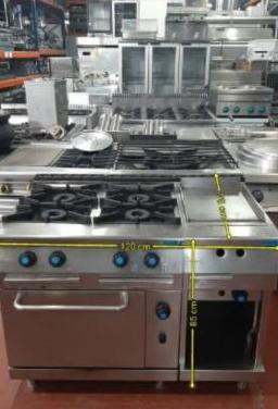 Cocina con horno y plancha industrial usada