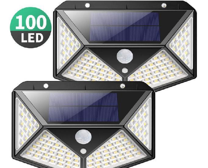 Luz solar exterior, kilponen 100 led foco solar exterior gra