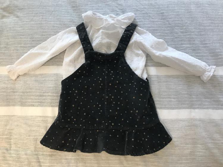 Conjunto de vestido peto gris con estrellitas
