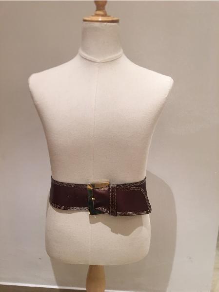 Fajín cinturón ancho piel marrón con hebilla