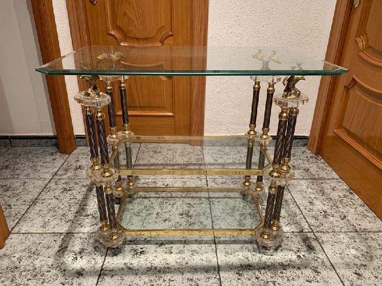 Mesa cristal doble altura aguila dorado