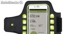 Brazalete deportivo para teléfono con luz led, negro/verde
