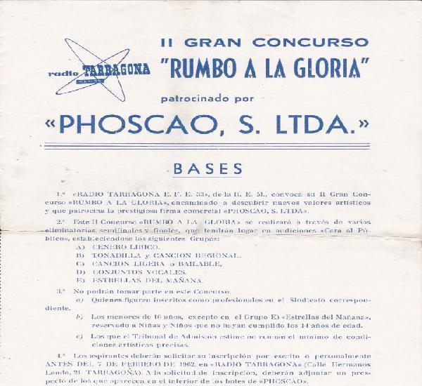 Ii concurso rumbo a la gloria phoscao radio tarragona 1962