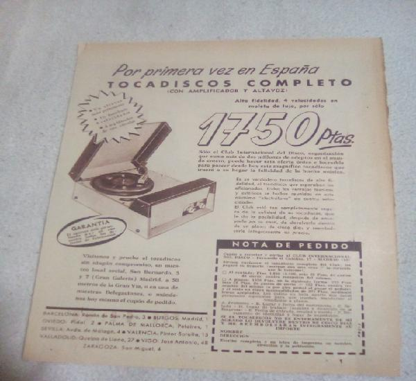 Recorte periódico publicidad años 60