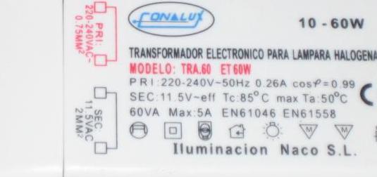 Transformador para lampara halogena