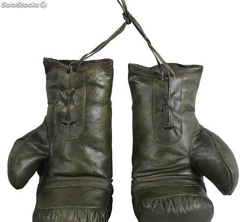 Guante guantes boxeo pareja artesanal vintage piel verde