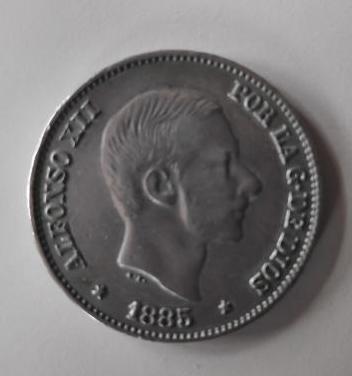 Moneda plata alfonso xii 1885