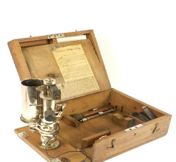 Raro medidor de presión de máquinas de vapor año 1900