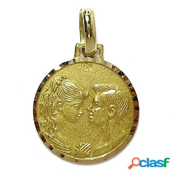Medalla colgante oro 18k rostros enamorados