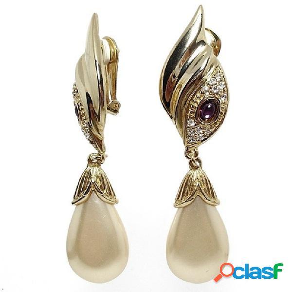 Pendientes bisutería largos metal perla cierre pellizco