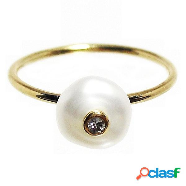 Sortija oro 18k brillante perla